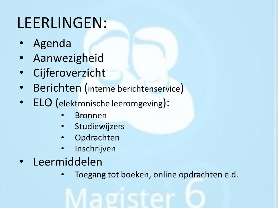 LEERLINGEN: Agenda Aanwezigheid Cijferoverzicht Berichten ( interne berichtenservice ) ELO ( elektronische leeromgeving ): Bronnen Studiewijzers Opdra