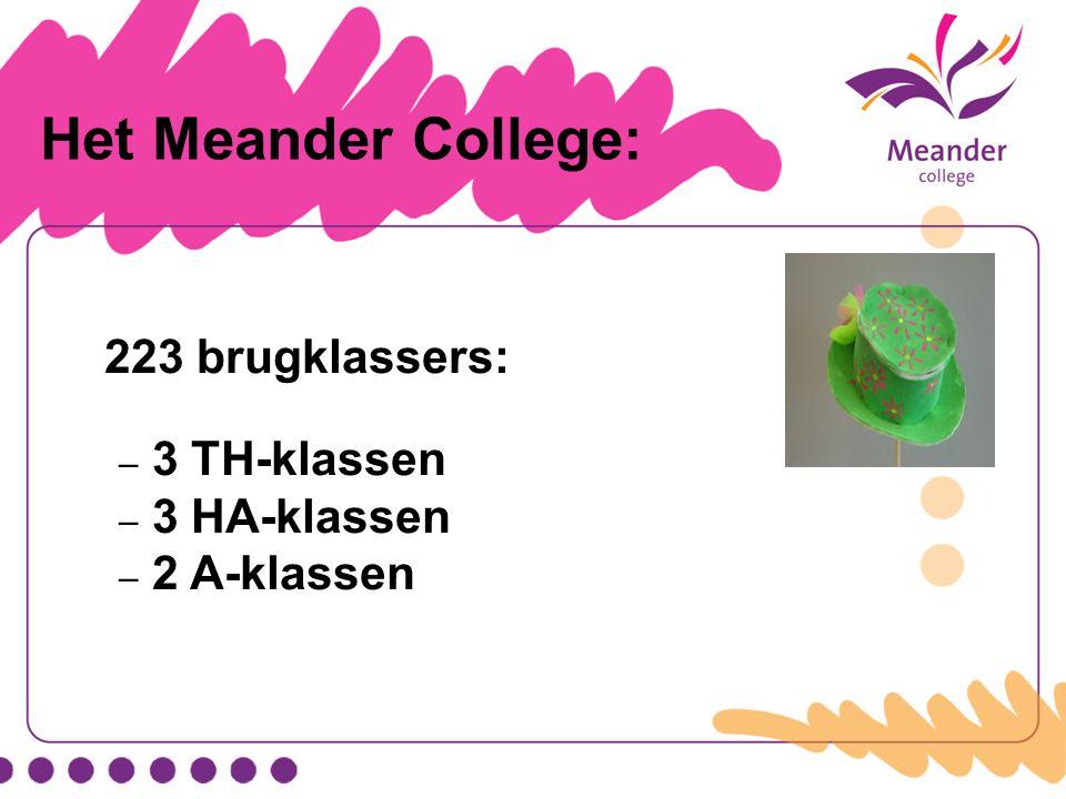 Het Meander College: 223 brugklassers: – 3 TH-klassen – 3 HA-klassen – 2 A-klassen