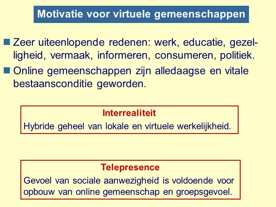 Motivatie voor virtuele gemeenschappen nZeer uiteenlopende redenen: werk, educatie, gezel- ligheid, vermaak, informeren, consumeren, politiek. nOnline