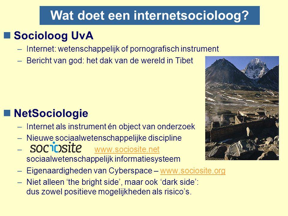 Wat doet een internetsocioloog? nSocioloog UvA –Internet: wetenschappelijk of pornografisch instrument –Bericht van god: het dak van de wereld in Tibe