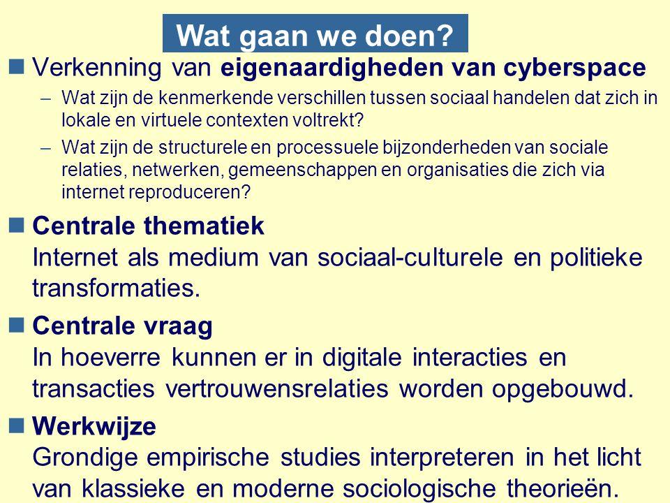 Wat gaan we doen? nVerkenning van eigenaardigheden van cyberspace –Wat zijn de kenmerkende verschillen tussen sociaal handelen dat zich in lokale en v