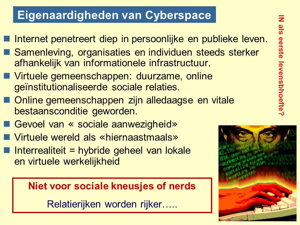 Eigenaardigheden van Cyberspace nInternet penetreert diep in persoonlijke en publieke leven. nSamenleving, organisaties en individuen steeds sterker a