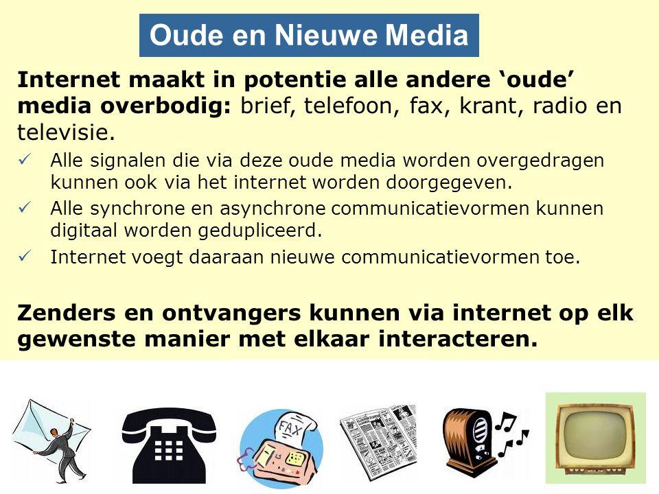 Internet maakt in potentie alle andere 'oude' media overbodig: brief, telefoon, fax, krant, radio en televisie. Alle signalen die via deze oude media