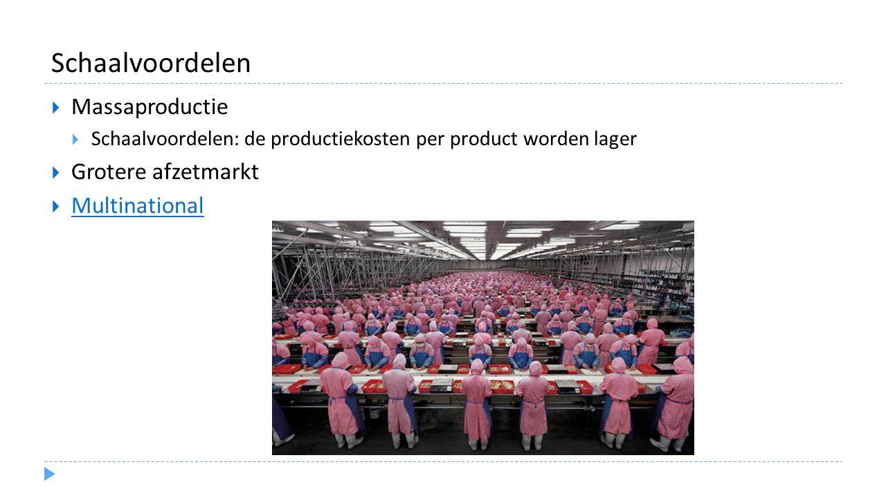 Schaalvoordelen  Massaproductie  Schaalvoordelen: de productiekosten per product worden lager  Grotere afzetmarkt  Multinational Multinational