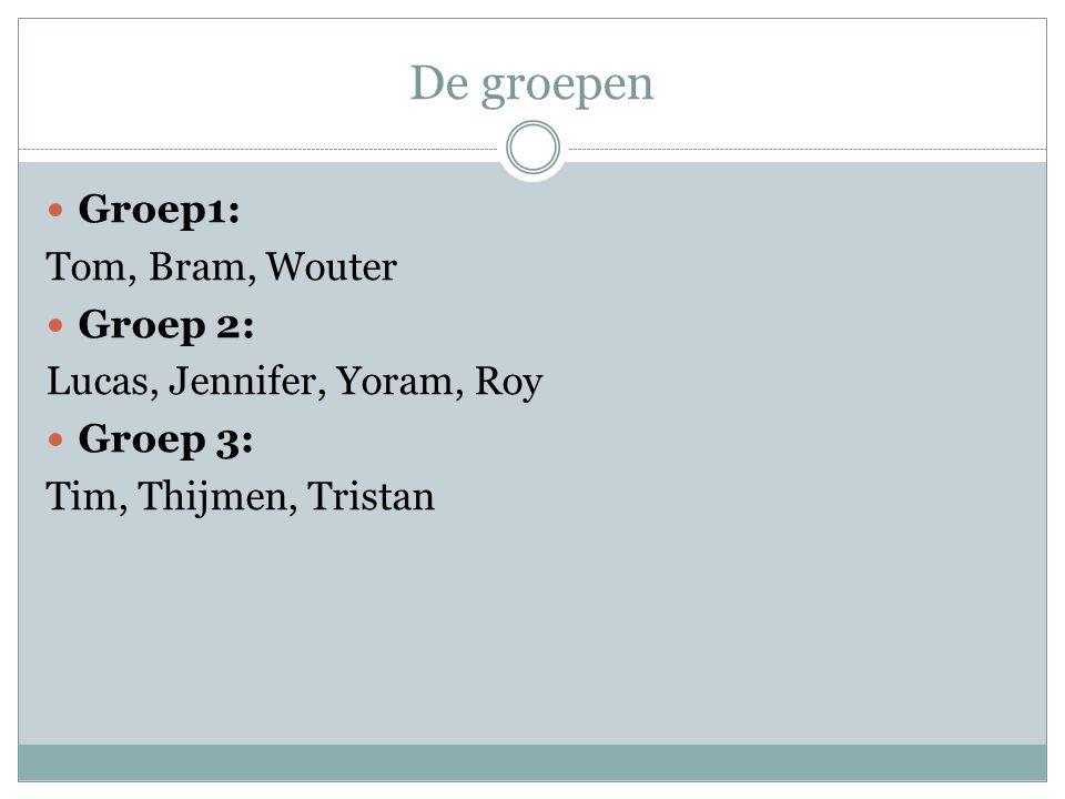 De groepen Groep1: Tom, Bram, Wouter Groep 2: Lucas, Jennifer, Yoram, Roy Groep 3: Tim, Thijmen, Tristan