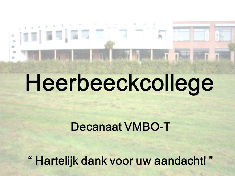 """Heerbeeckcollege Decanaat VMBO-T """" Hartelijk dank voor uw aandacht! """""""