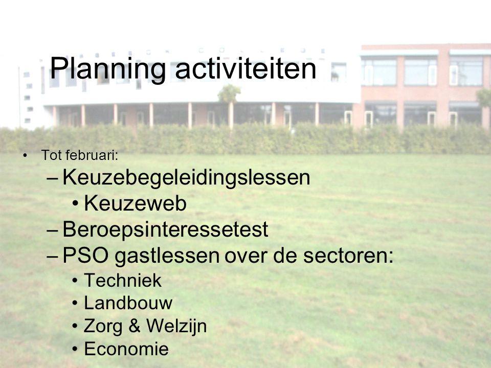 Planning activiteiten Tot februari: –Keuzebegeleidingslessen Keuzeweb –Beroepsinteressetest –PSO gastlessen over de sectoren: Techniek Landbouw Zorg &