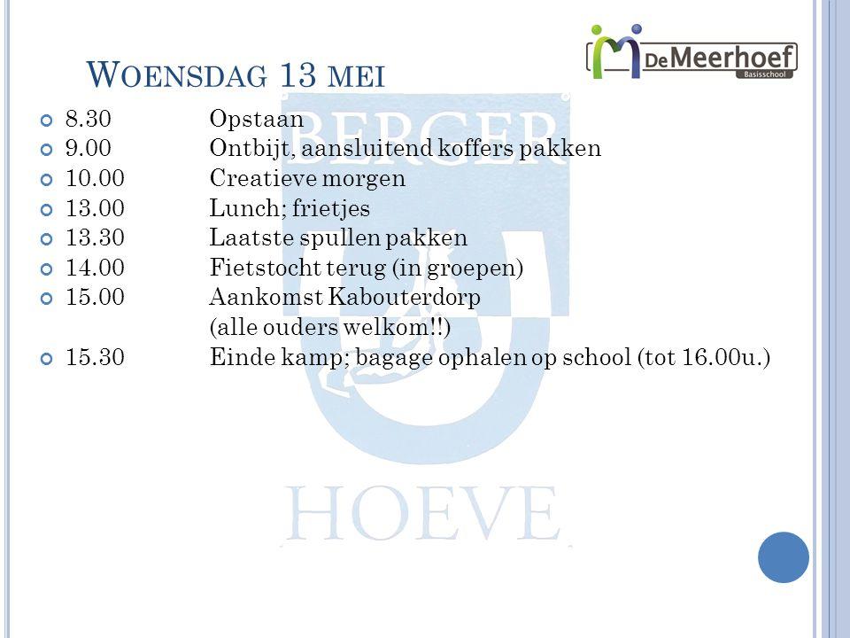 W OENSDAG 13 MEI 8.30Opstaan 9.00Ontbijt, aansluitend koffers pakken 10.00Creatieve morgen 13.00Lunch; frietjes 13.30Laatste spullen pakken 14.00Fietstocht terug (in groepen) 15.00Aankomst Kabouterdorp (alle ouders welkom!!) 15.30Einde kamp; bagage ophalen op school (tot 16.00u.)