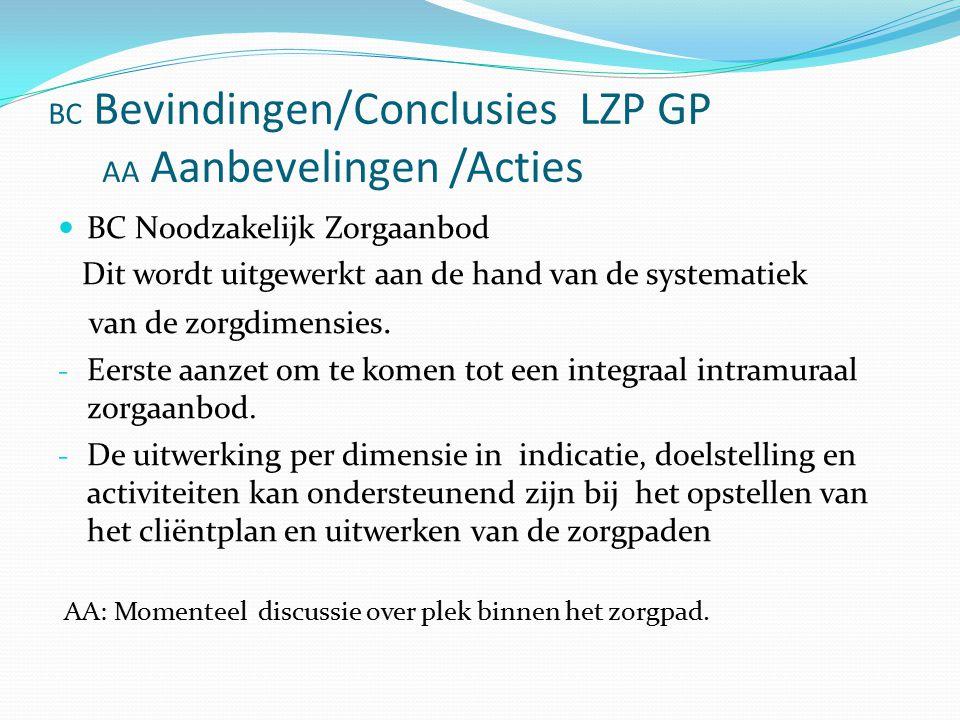 BC Bevindingen/Conclusies LZP GP AA Aanbevelingen /Acties BC Noodzakelijk Zorgaanbod Dit wordt uitgewerkt aan de hand van de systematiek van de zorgdimensies.