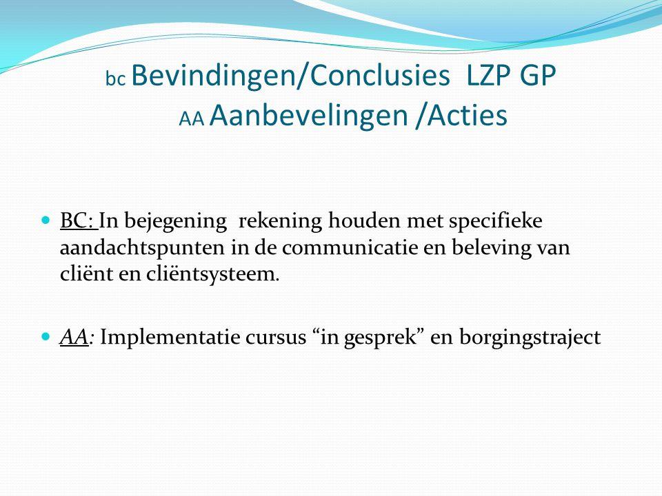 bc Bevindingen/Conclusies LZP GP AA Aanbevelingen /Acties BC: In bejegening rekening houden met specifieke aandachtspunten in de communicatie en beleving van cliënt en cliëntsysteem.
