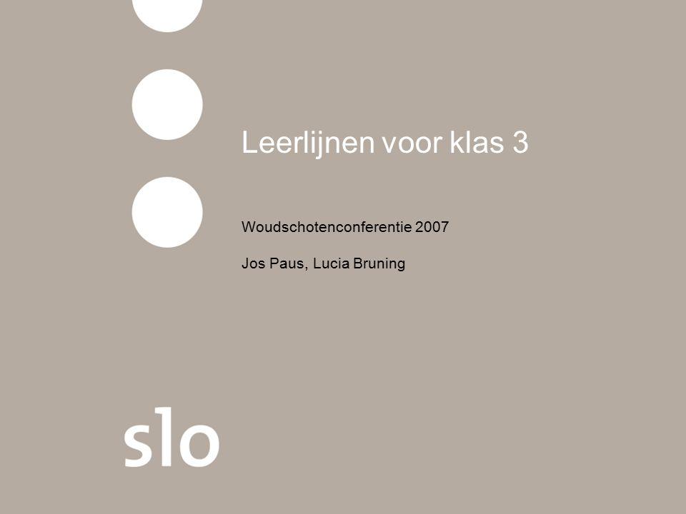 Leerlijnen voor klas 3 Woudschotenconferentie 2007 Jos Paus, Lucia Bruning