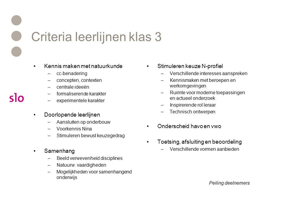 Criteria leerlijnen klas 3 Kennis maken met natuurkunde –cc-benadering –concepten, contexten –centrale ideeën –formaliserende karakter –experimentele