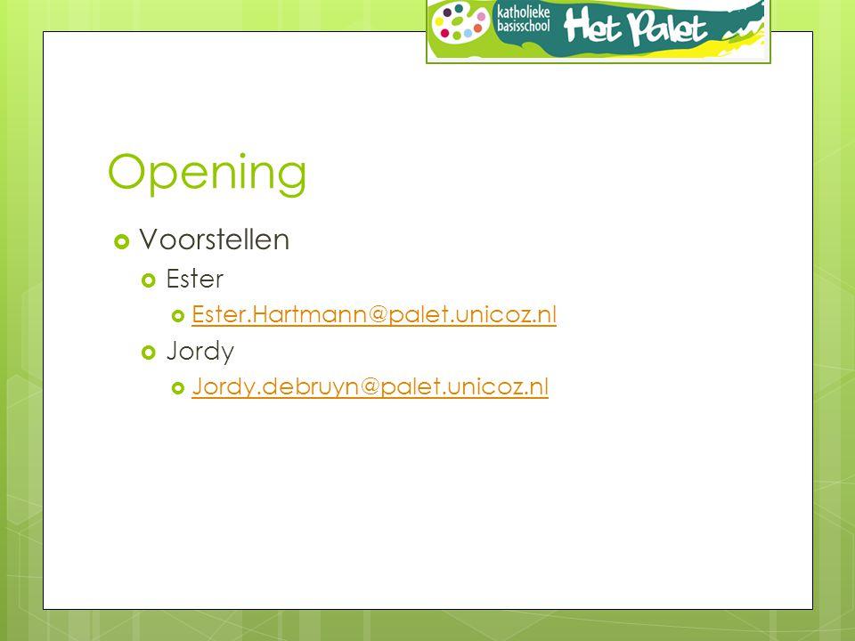 Opening  Voorstellen  Ester  Ester.Hartmann@palet.unicoz.nl Ester.Hartmann@palet.unicoz.nl  Jordy  Jordy.debruyn@palet.unicoz.nl Jordy.debruyn@palet.unicoz.nl