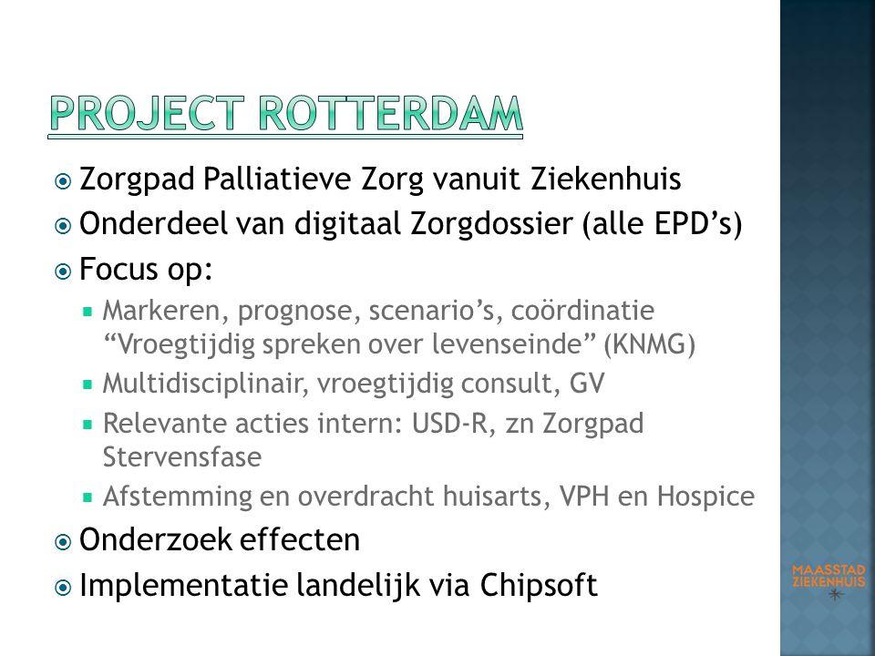  Zorgpad Palliatieve Zorg vanuit Ziekenhuis  Onderdeel van digitaal Zorgdossier (alle EPD's)  Focus op:  Markeren, prognose, scenario's, coördinat