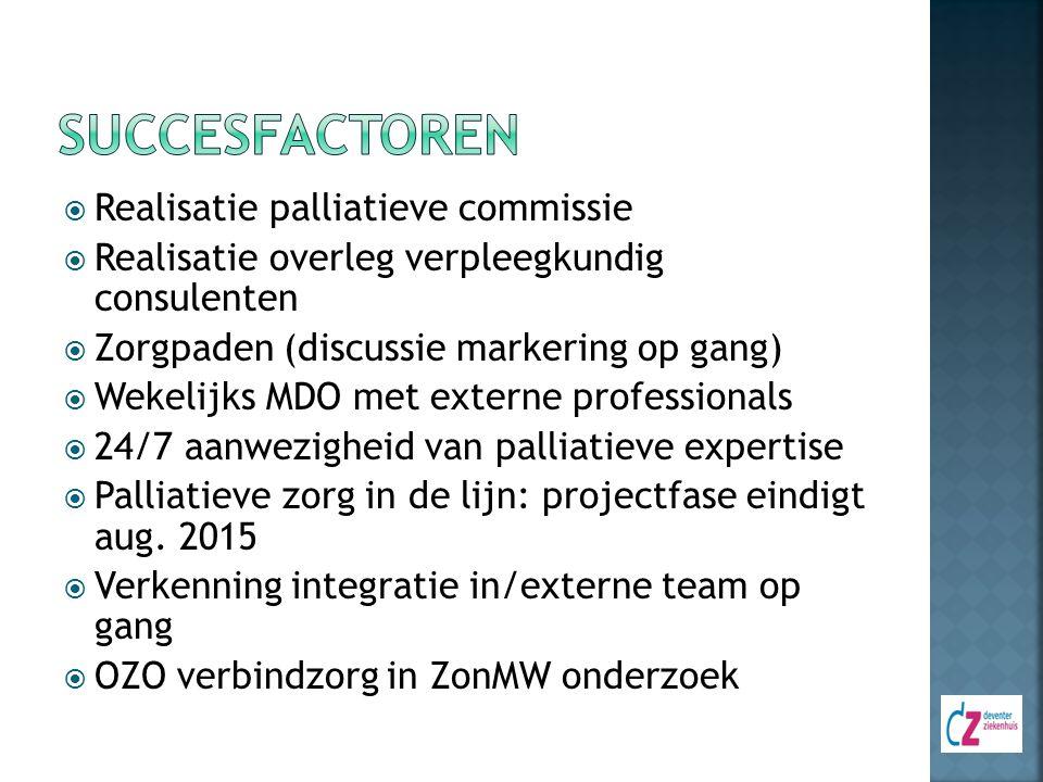  Realisatie palliatieve commissie  Realisatie overleg verpleegkundig consulenten  Zorgpaden (discussie markering op gang)  Wekelijks MDO met exter