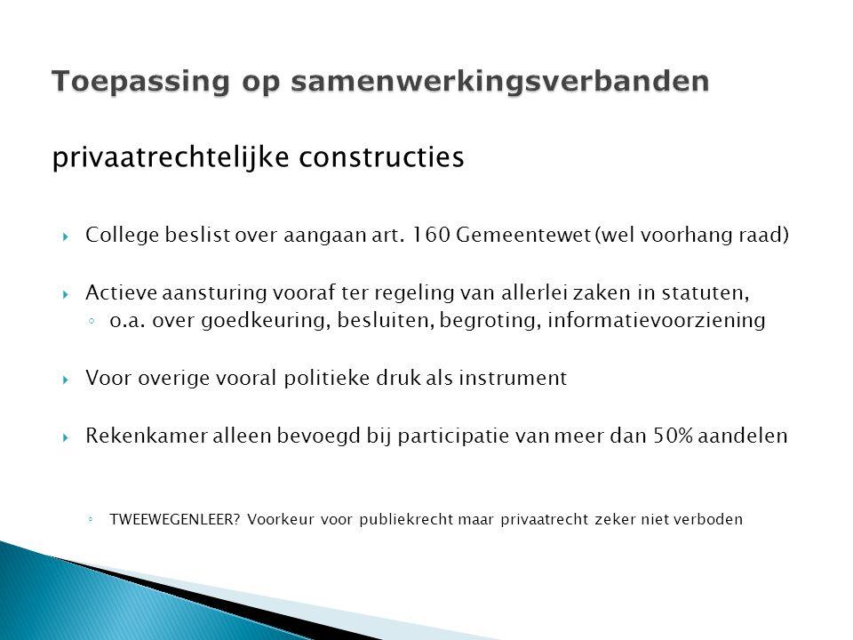 privaatrechtelijke constructies  College beslist over aangaan art.