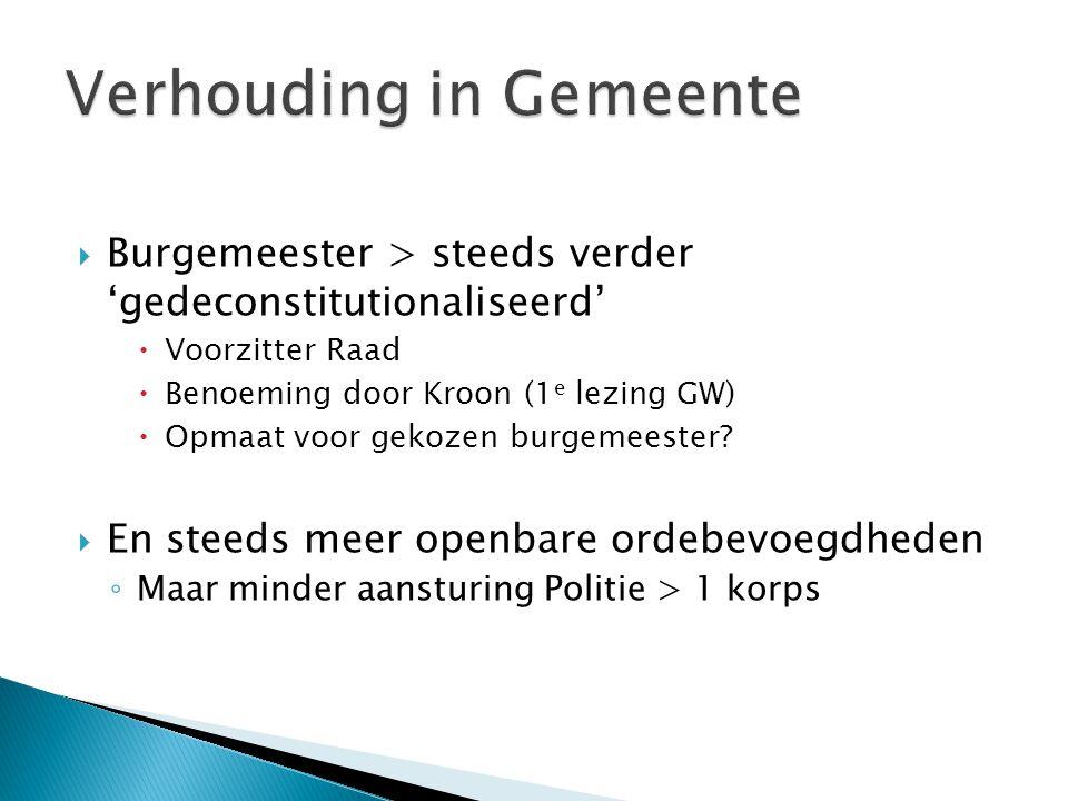 Burgemeester > steeds verder 'gedeconstitutionaliseerd'  Voorzitter Raad  Benoeming door Kroon (1 e lezing GW)  Opmaat voor gekozen burgemeester.