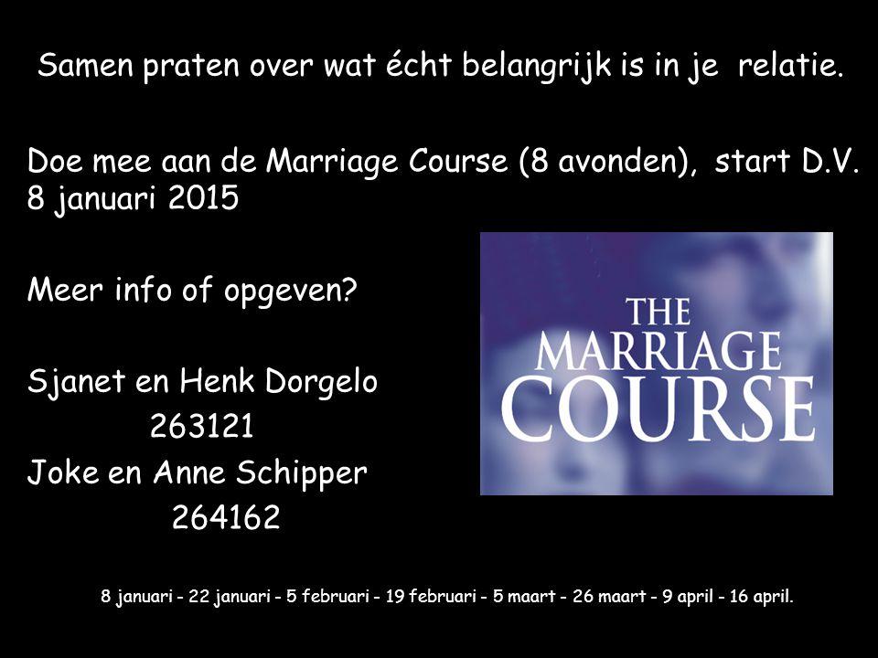 Samen praten over wat écht belangrijk is in je relatie. Doe mee aan de Marriage Course (8 avonden), start D.V. 8 januari 2015 Meer info of opgeven? Sj