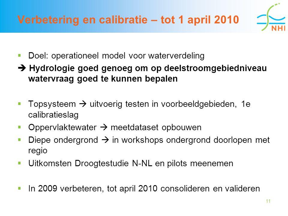 11 Verbetering en calibratie – tot 1 april 2010  Doel: operationeel model voor waterverdeling  Hydrologie goed genoeg om op deelstroomgebiedniveau w