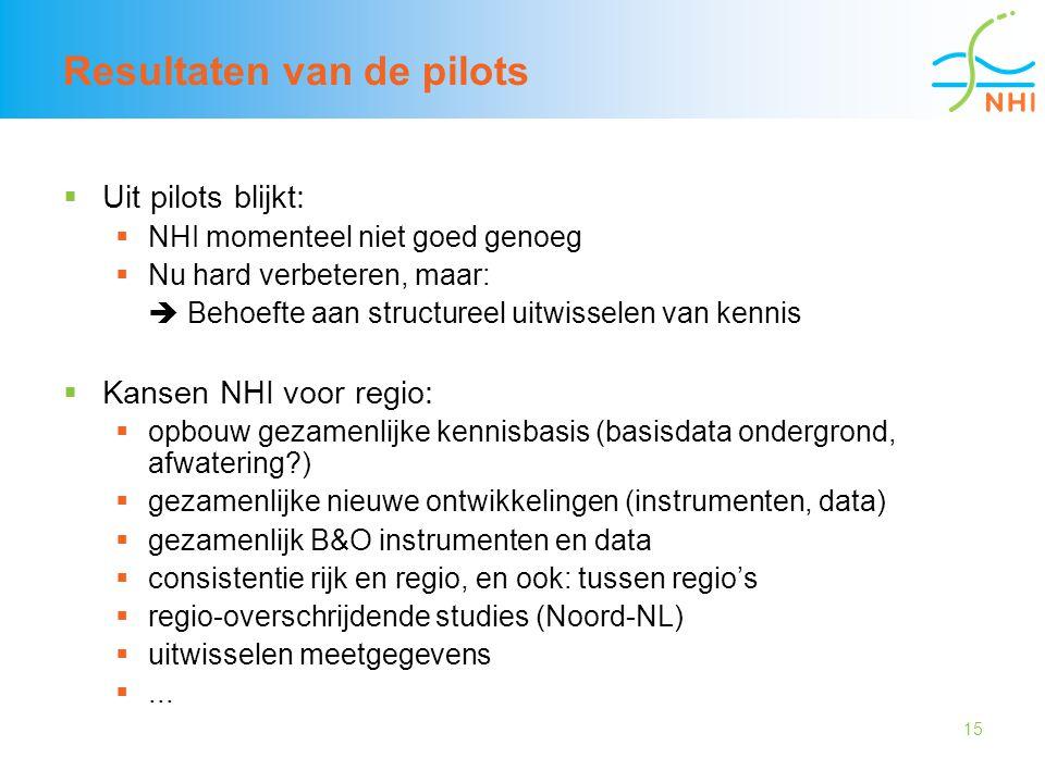 15 Resultaten van de pilots  Uit pilots blijkt:  NHI momenteel niet goed genoeg  Nu hard verbeteren, maar:  Behoefte aan structureel uitwisselen v
