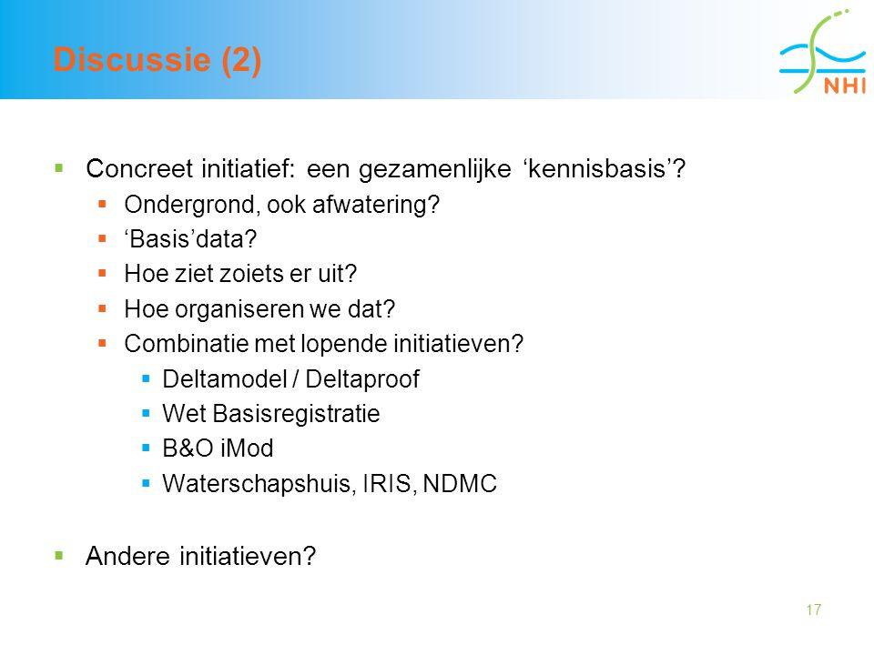 17 Discussie (2)  Concreet initiatief: een gezamenlijke 'kennisbasis'?  Ondergrond, ook afwatering?  'Basis'data?  Hoe ziet zoiets er uit?  Hoe o