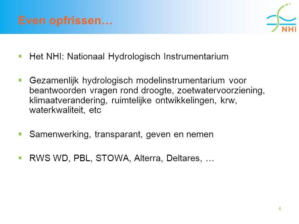 4 Even opfrissen…  Het NHI: Nationaal Hydrologisch Instrumentarium  Gezamenlijk hydrologisch modelinstrumentarium voor beantwoorden vragen rond droo