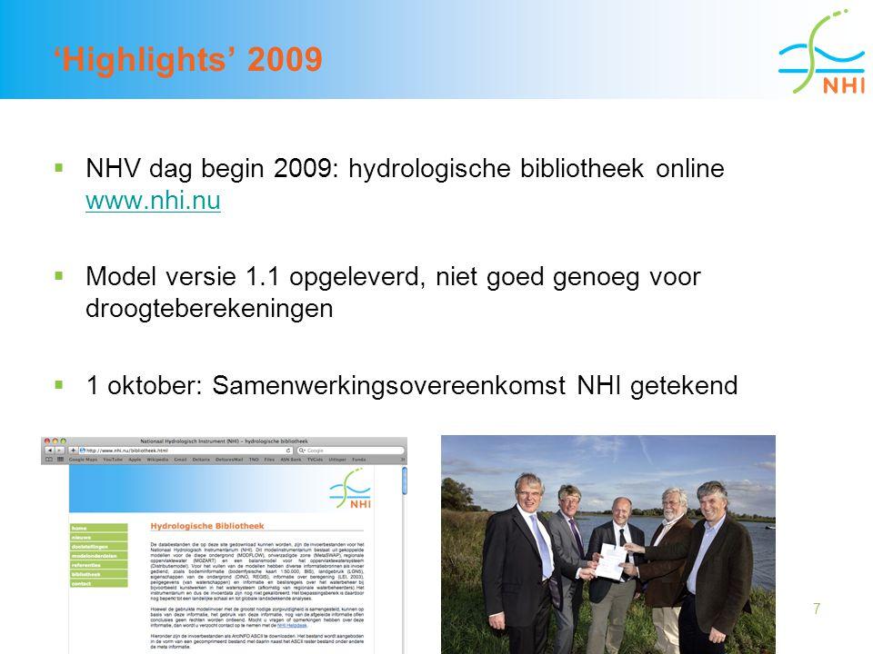 7 'Highlights' 2009  NHV dag begin 2009: hydrologische bibliotheek online www.nhi.nu www.nhi.nu  Model versie 1.1 opgeleverd, niet goed genoeg voor
