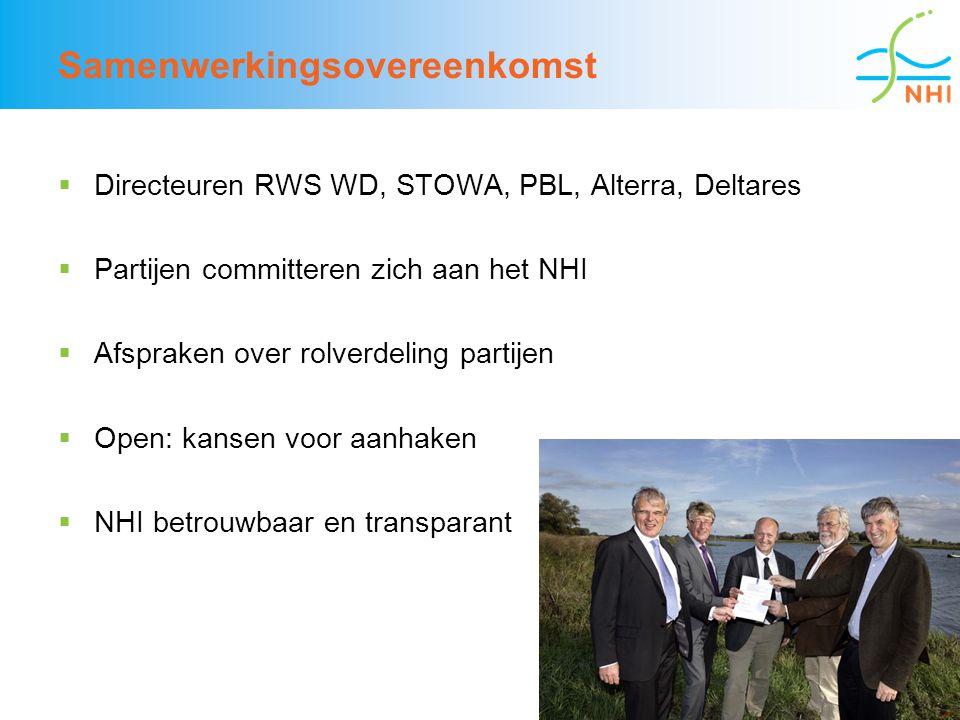 8 Samenwerkingsovereenkomst  Directeuren RWS WD, STOWA, PBL, Alterra, Deltares  Partijen committeren zich aan het NHI  Afspraken over rolverdeling partijen  Open: kansen voor aanhaken  NHI betrouwbaar en transparant