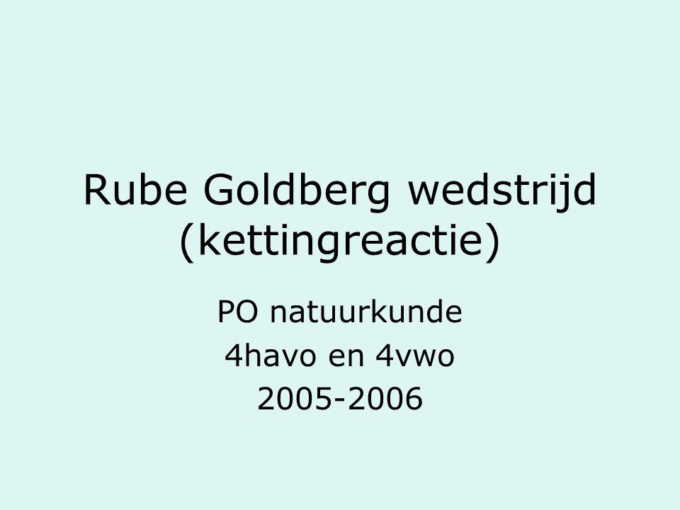 Rube Goldberg wedstrijd (kettingreactie) PO natuurkunde 4havo en 4vwo 2005-2006