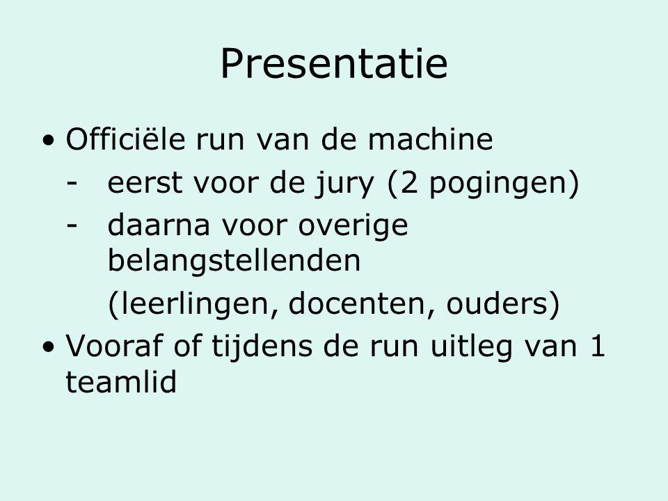 Presentatie Officiële run van de machine -eerst voor de jury (2 pogingen) -daarna voor overige belangstellenden (leerlingen, docenten, ouders) Vooraf