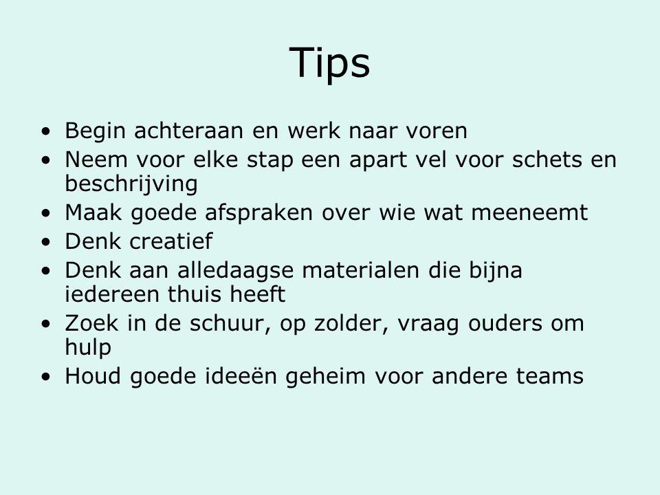 Tips Begin achteraan en werk naar voren Neem voor elke stap een apart vel voor schets en beschrijving Maak goede afspraken over wie wat meeneemt Denk