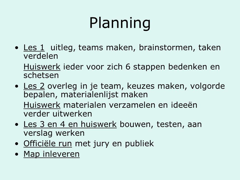 Planning Les 1 uitleg, teams maken, brainstormen, taken verdelen Huiswerk ieder voor zich 6 stappen bedenken en schetsen Les 2 overleg in je team, keu