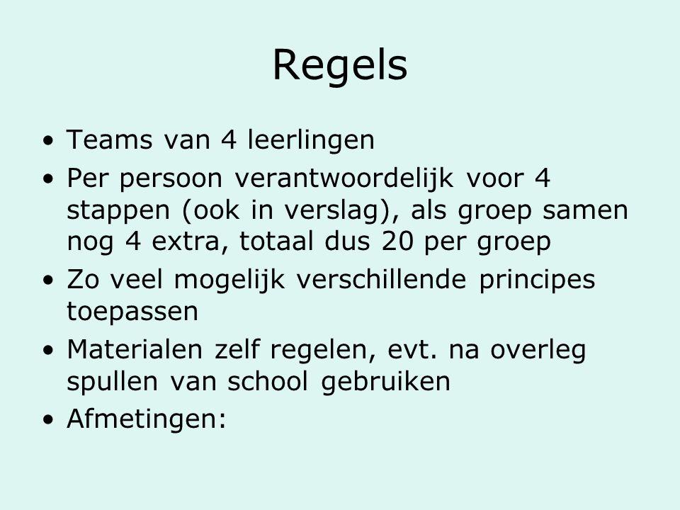 Regels Teams van 4 leerlingen Per persoon verantwoordelijk voor 4 stappen (ook in verslag), als groep samen nog 4 extra, totaal dus 20 per groep Zo ve