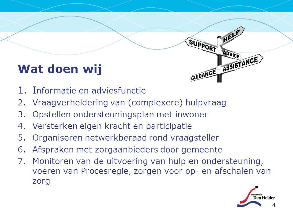 Wat doen wij 1.I nformatie en adviesfunctie 2.Vraagverheldering van (complexere) hulpvraag 3.Opstellen ondersteuningsplan met inwoner 4.Versterken eig