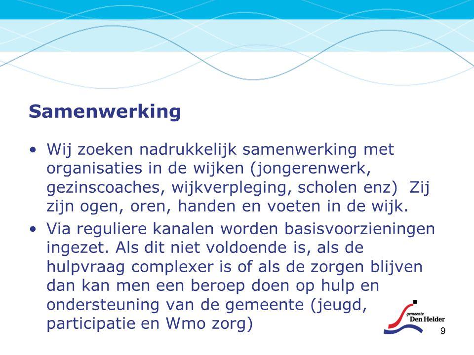 Samenwerking Wij zoeken nadrukkelijk samenwerking met organisaties in de wijken (jongerenwerk, gezinscoaches, wijkverpleging, scholen enz) Zij zijn og