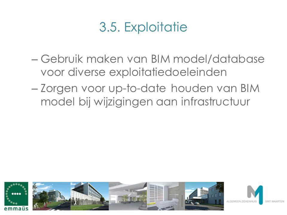 3.5. Exploitatie – Gebruik maken van BIM model/database voor diverse exploitatiedoeleinden – Zorgen voor up-to-date houden van BIM model bij wijziging