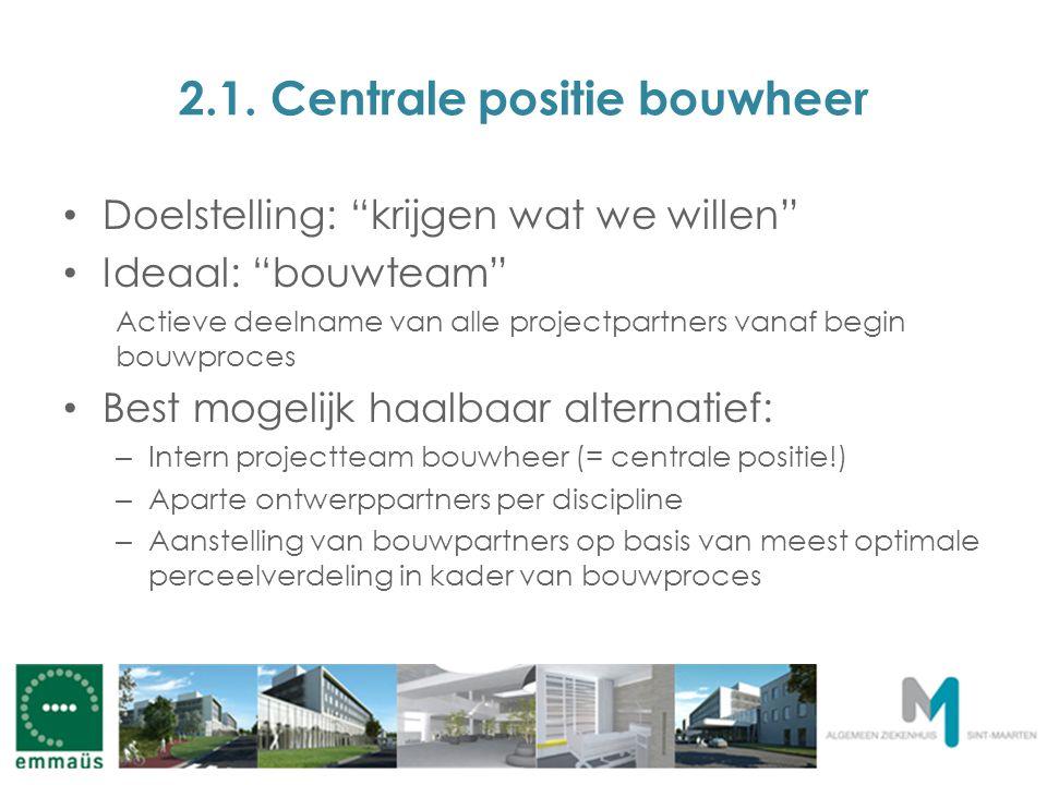 """2.1. Centrale positie bouwheer Doelstelling: """"krijgen wat we willen"""" Ideaal: """"bouwteam"""" Actieve deelname van alle projectpartners vanaf begin bouwproc"""