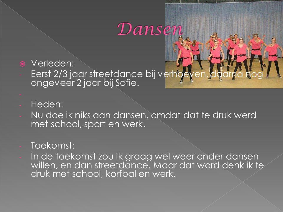  Verleden: - Eerst 2/3 jaar streetdance bij verhoeven, daarna nog ongeveer 2 jaar bij Sofie. - - Heden: - Nu doe ik niks aan dansen, omdat dat te dru