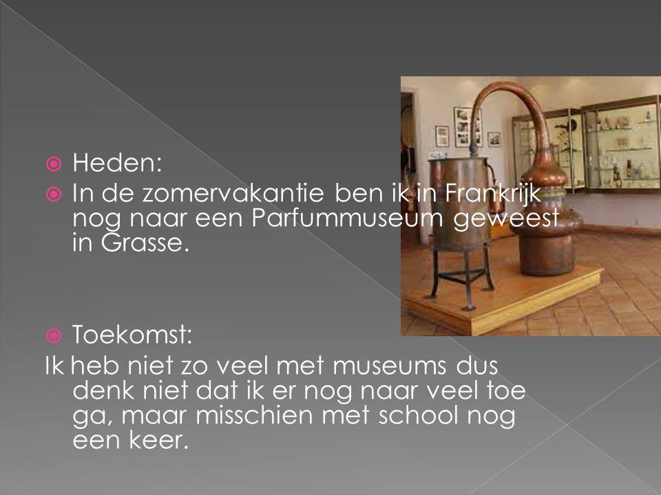  Heden:  In de zomervakantie ben ik in Frankrijk nog naar een Parfummuseum geweest in Grasse.  Toekomst: Ik heb niet zo veel met museums dus denk n