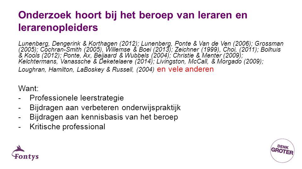 Onderzoek hoort bij het beroep van leraren en lerarenopleiders Lunenberg, Dengerink & Korthagen (2012); Lunenberg, Ponte & Van de Ven (2006); Grossman (2005); Cochran-Smith (2005), Willemse & Boei (2013); Zeichner (1999), Choi, (2011); Bolhuis & Kools (2012); Ponte, Ax, Beijaard & Wubbels (2004); Christie & Menter (2009); Kelchtermans, Vanassche & Deketelaere (2014); Livingston, McCall, & Morgado (2009); Loughran, Hamilton, LaBoskey & Russell, (2004) en vele anderen Want: -Professionele leerstrategie -Bijdragen aan verbeteren onderwijspraktijk -Bijdragen aan kennisbasis van het beroep -Kritische professional