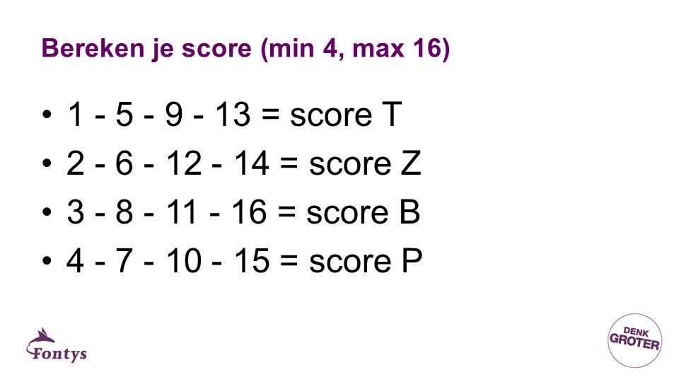 Bereken je score (min 4, max 16) 1 - 5 - 9 - 13 = score T 2 - 6 - 12 - 14 = score Z 3 - 8 - 11 - 16 = score B 4 - 7 - 10 - 15 = score P