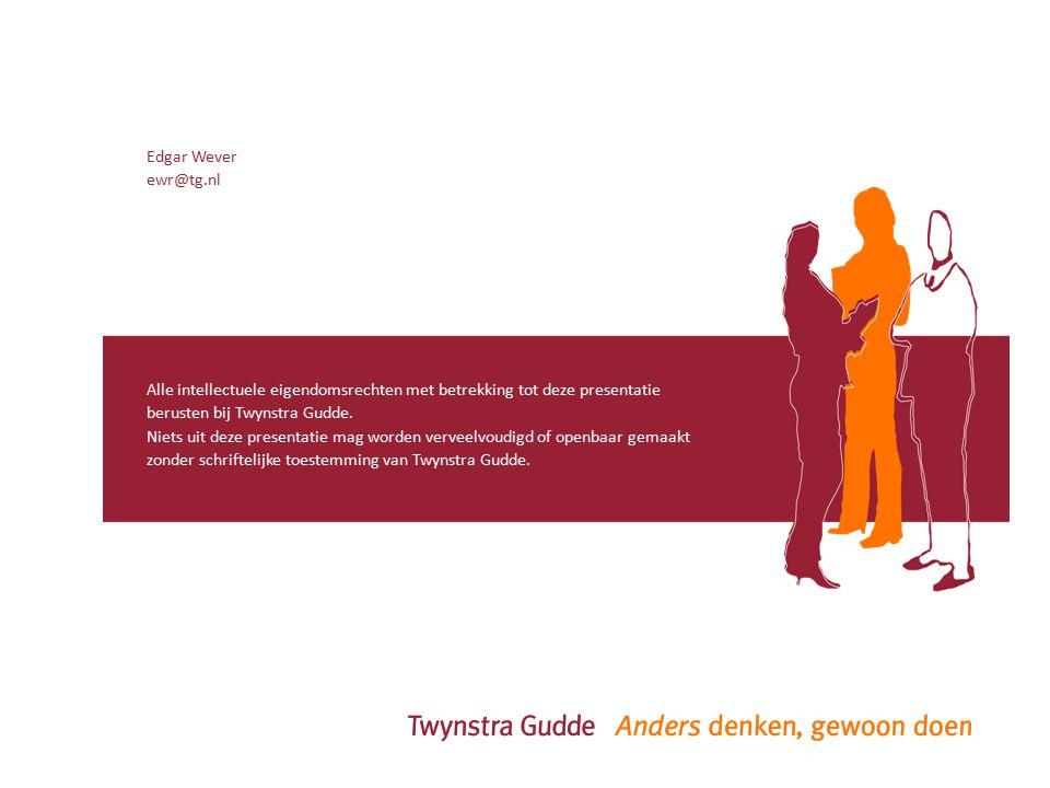 Alle intellectuele eigendomsrechten met betrekking tot deze presentatie berusten bij Twynstra Gudde.