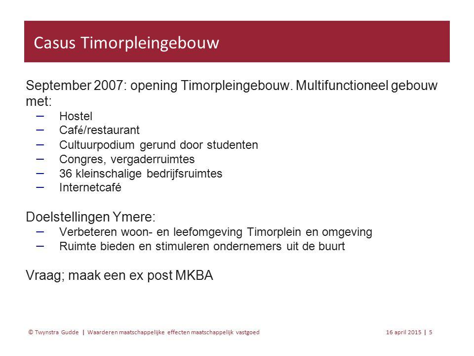 Waarderen maatschappelijke effecten maatschappelijk vastgoed 16 april 20155 | © Twynstra Gudde | September 2007: opening Timorpleingebouw.