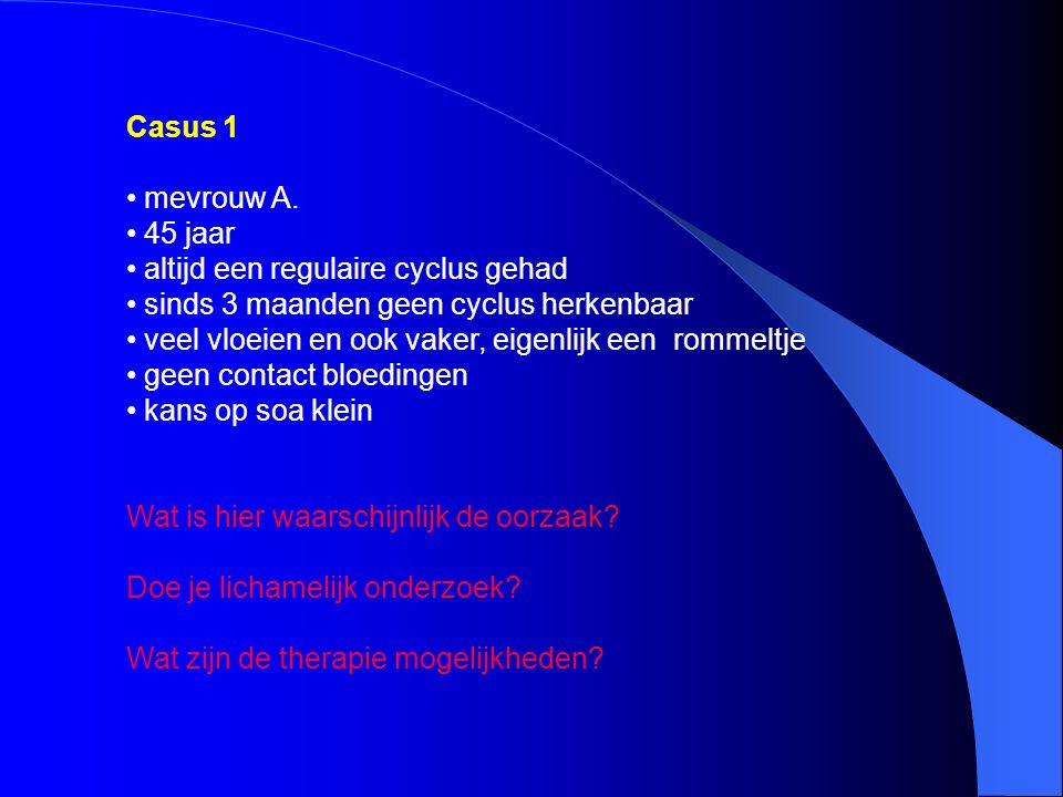 oorzaak: anovulatoire cycli lichamelijk onderzoek: ja behandeling: proverakuur .