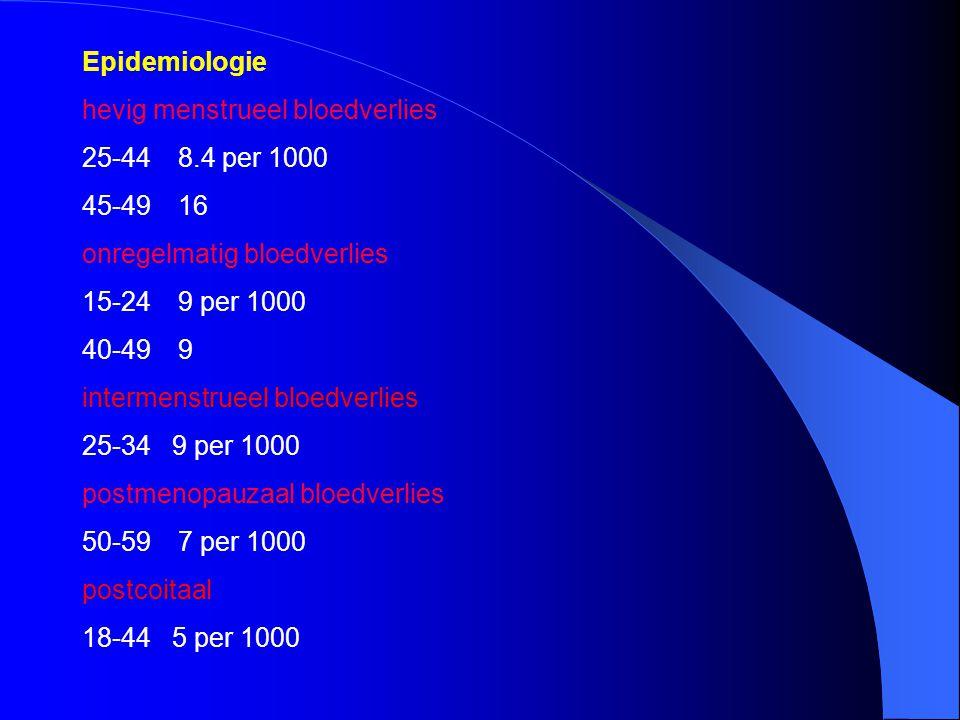 Epidemiologie hevig menstrueel bloedverlies 25-448.4 per 1000 45-4916 onregelmatig bloedverlies 15-249 per 1000 40-499 intermenstrueel bloedverlies 25