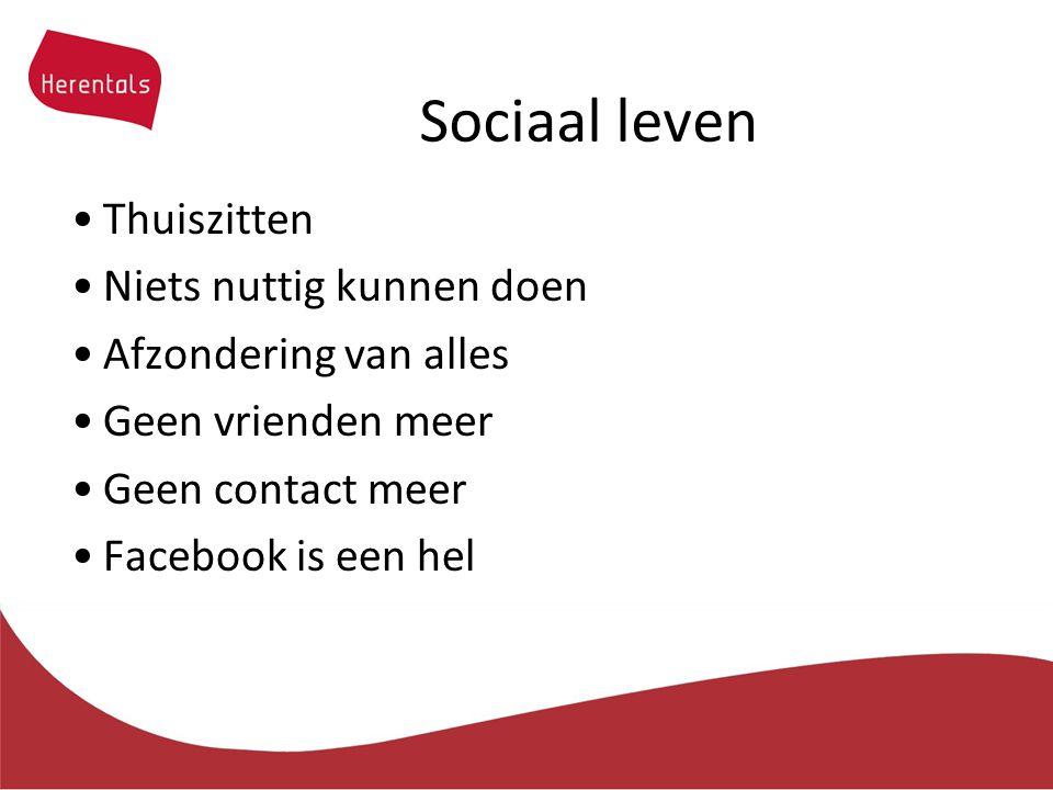 Sociaal leven Thuiszitten Niets nuttig kunnen doen Afzondering van alles Geen vrienden meer Geen contact meer Facebook is een hel