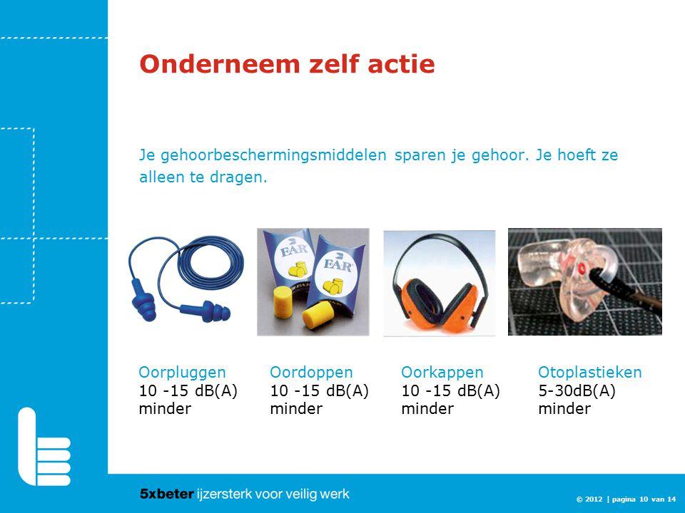Onderneem zelf actie Je gehoorbeschermingsmiddelen sparen je gehoor. Je hoeft ze alleen te dragen. © 2012 | pagina 10 van 14 Oorpluggen 10 -15 dB(A) m