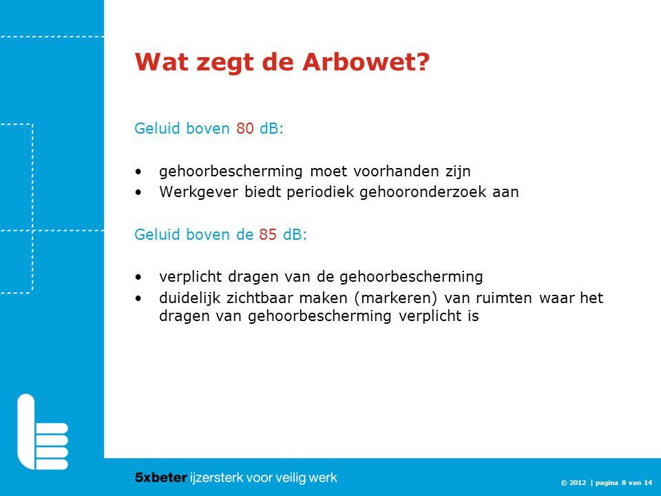 Wat zegt de Arbowet? Geluid boven 80 dB: gehoorbescherming moet voorhanden zijn Werkgever biedt periodiek gehooronderzoek aan Geluid boven de 85 dB: v