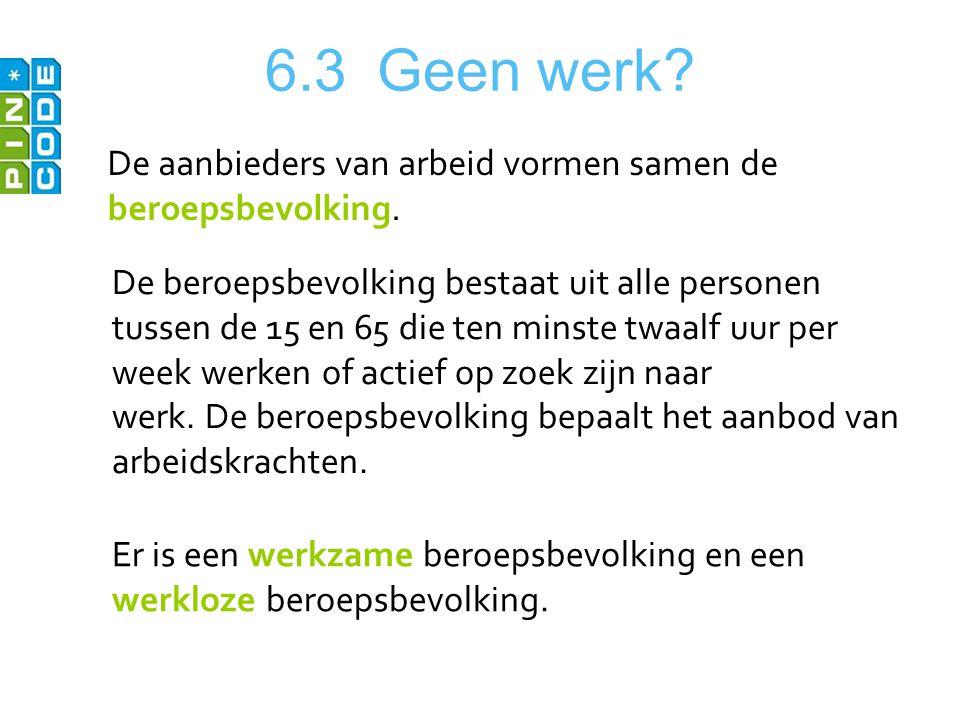 6.3 Geen werk? De aanbieders van arbeid vormen samen de beroepsbevolking. De beroepsbevolking bestaat uit alle personen tussen de 15 en 65 die ten min
