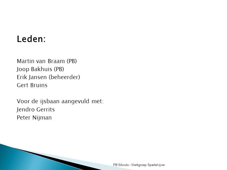 Leden: Martin van Braam (PB) Joop Bakhuis (PB) Erik Jansen (beheerder) Gert Bruins Voor de ijsbaan aangevuld met: Jendro Gerrits Peter Nijman PB Sibcu